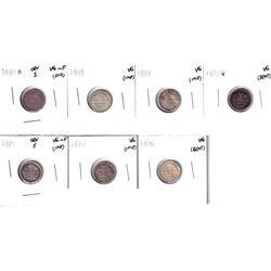 1880-1896 Canada 5-cents: 1880H  Obverse 3 VG-F, 1888 VG,1889 VG,1890H VG, 1891 obverse 5 VG-F, 1892