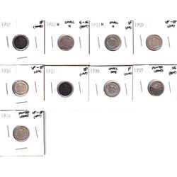 1902-1910 Canada 5-cents: 1902 EF, 1902H G-VG, 1903H small H  VF, 1905 VF-EF, 1906 VF-EF, 1907 EF, 1