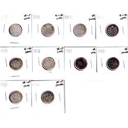 1907-1930 Canada 5-cents: 1907 VG-F, 1910 G-VG, 1911 VG, 1912 G-VG,1915 G-VG, 1918 Vg-F, 1921 VG, 19