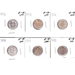 1912,1914,1916,1918,1919 & 1920 Canada 5-cents VF-EF. Coins contain various imperfections. Please vi