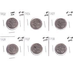 1922-1930 Canada 5-cents: 1922 Near Rim VF-EF, 192 4EF,1927 VF-EF,1928 VF-EF,1929 VF-EF & 1930 VF-EF