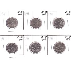 1927,1928,1930,1931,1932 & 1933 Canada 5-cents VF-EF(impaired). Coins contain various imperfections.