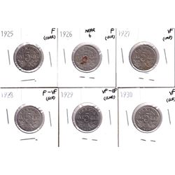 1925, 1926 Far 6, 1927,1928,1929 & 1930 Canada 5-cent in Fine or Better Condition. Coins contain var