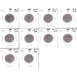 10x 1926 Near 6 Canada 5-cent  VG-F (Cleaned/scratched). Please view images for details. 10pcs