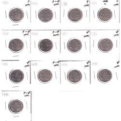 1923-1936 Canada 5-cent in Fine or better condition. 1923 F,1924 F-VF,1925 F, 1926 Near 6 F,1927 F-V