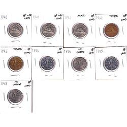 1940-1945 Canada 5-cents: 1940 EF-AU, 1941 EF-AU, 1942 EF, 1942 Tombac EF,1943 Tombac EF,1944 EF, 19