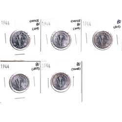 5x 1944 Canada 5-cents in Brilliant UNC condition. Coins contain various imperfections, please view