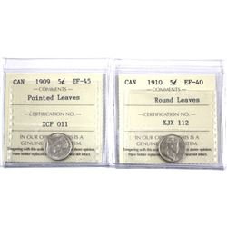 1909 Pointed Leaves 5-cent EF-45 & 1910 Round Leaves 5-cent EF-40 both ICCS Certified. 2pcs