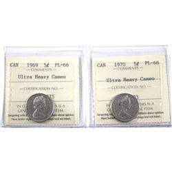 1969 & 1970 Canada 5-cent  ICCS Certified PL-66 Ultra Heavy Cameo. 2pcs
