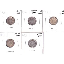Lot of Canada 10-cents: 1905 VG-F, 1909 Victorian Leaves VG, 1910 VG, 1911 VG-F & 1913 VG-F. coins c