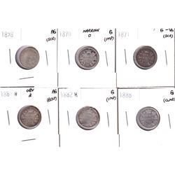 1858-1888 Canada 10-cents: 1858 AG, 1870 Narrow O G, 1871 G-VG, 1881H Obverse 2 AG, 1882H G & 1888 G