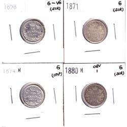 Canada 10-cents: 1858 G-VG, 1871 Good, 1874H Good & 1880H Obverse 1 Good. Coins contain various impe