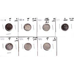 1880-1896 Canada 10-cents: 1880H Obverse 2 Good, 1881H Obverse 2 VG-F, 1886 Large Knobbed 6, obverse