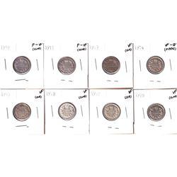 1910-1928 Canada 10-cents: 1910 F-VF, 1911 F-VF, 1912 VF, 1914 VF-EF, 1917 VF,1918 VF, 1919 VF, 1928