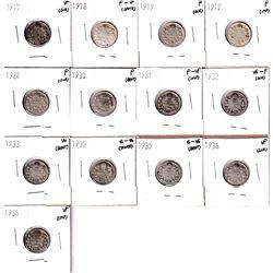 1917-1936 Canada 10-cents: 1917 VF,1918 F-VF, 2x 1919 Fine, 1928 Fine,1930 Fine,1931 F-VF, 1932 VG-F