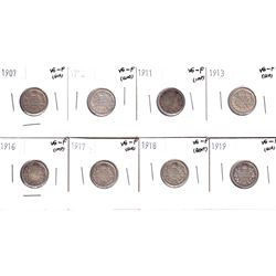 1907-1919 Canada 10-cents: 1907 VG-F, 1910 VG-F, 1911 VG-F, 1913 VG-F, 1916 VG-F, 1917 VG-F, 1918 VG
