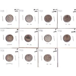 1931-1936 Canada 10-cents: 3x1931 VG-F, 2x 1935 VG, 6x 1936 Fine. Coin contains various imperfection