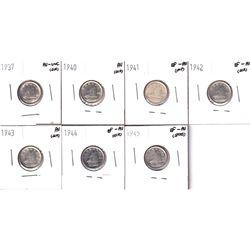 1937-1945 Canada 10-cents: 1937 AU-UNC, 1940 AU, 1941 EF-AU, 1942 Eve-Au, 1943 AU, 1944 EF-AU & 1945
