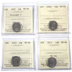 2007 Straight 7, 2008, 2010, 2011 Canada 10-cent ICCS Certified MS-66. 4pcs.