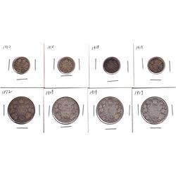1910-1919 Canada silver 10-cent & 50-cent coins: 1910 10-cent,2x 1918 10-cent, 1919 10-cent, 1872 50
