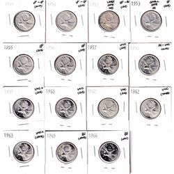 1949-1966 Canada 25-cents in EF or Better condition. You will receive 15x coins dated between 1949 &