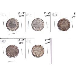 1913-1920 Canada 25-cents in Fine or Better condition.  1913 F-VF, 1916 F-VF, 1918 Fine, 1919 F-VF &