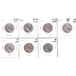 1943-1950 Canada 25-cents in VF or Better Condition. 1943 EF-AU, 1945 EF-AU, 1946 VF-EF, 1947 Maple