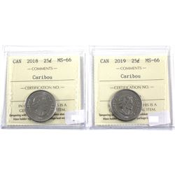 2018 & 2019 Canada 25-cent ICCS Certified MS-66. 2pcs