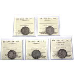 1902 AG-3, 1903 Fair , 1904 G-4, 1921 G-6,  & 1927 G-6 Canada 25-cent ICCS Certified. 5pcs