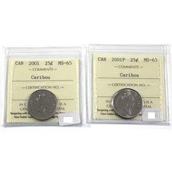2001 & 2001P Canada 25-cent ICCS Certified MS-65. 2pcs