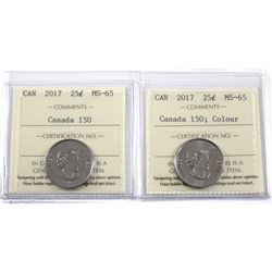 2017 Canada 150 25-cent Coloured & Non Coloured ICCS Certified MS-65.2pcs