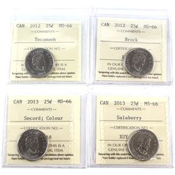 25-cent 2012 Tecumseh, 2012 Brock, 2013 Coloured Secord, 2013 Salaberry ICCS Certified MS-66. 4pcs.
