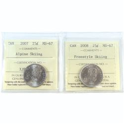 25-cent 2007 Alpine Skiing & 2008 Freestyle Skiing ICCS Certified MS-67. 2pcs.