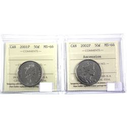2001P & 200P Ascension to the throne 50-cent ICCS Certified MS-66. 2pcs