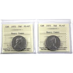 1972 & 1975 Canada 50-cent ICCS Certified PL-67 Heavy Cameo. 2pcs