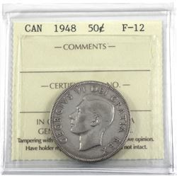 1948 Canada 50-cent ICCS Certified F-12