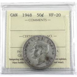 1948 Canada 50-cent ice certified VF-20
