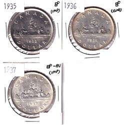 1935, 1936 & 1937 Canada Silver Dollar EF or Better condition.  Coins  contain various imperfections