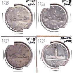 1935,1936,1937 & 1939 Canada Silver Dollars in VF or Better Condition. Coins  contain various imperf