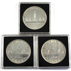1935,1936 & 1939 silver dollar. 3pcs