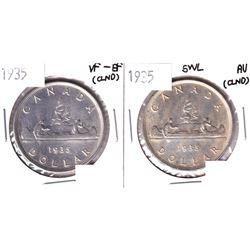1935 VF-EF & 1935 SWL AU Silver Dollar (cleaned). 2pcs