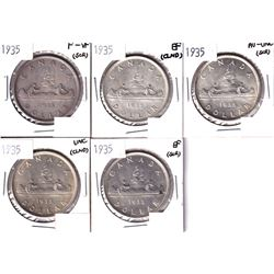 5x 1935 Silver Dollar F-VF or Better Condition.  Coins  contain various imperfections. Please view i