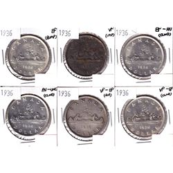 6x 1936 Canada Silver Dollar VF or Better Condition. Coins contain various imperfections. Please vie