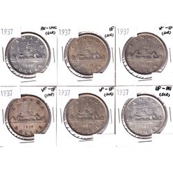 6x 1937 Canada Silver Dollar VF-EF or Better Condition. Coins contain various imperfections. Please