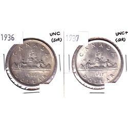1936 & 1937 Silver Dollar UNC (scratch) 2pcs