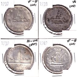 1937,1938,1939 & 1949 Silver Dollar VG or Better Condition. Coins contain various imperfections. Ple