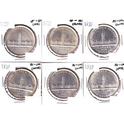 6x 1939 Canada Silver Dollar VF-EF or Better Condition. Coins contain various imperfections. Please