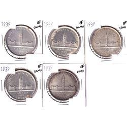 5x 1939 Canada Silver Dollar EF (Cleaned or Scratch)5pcs