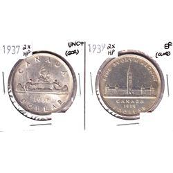 1937 2x HP Silver Dollar EF & 1939 2x HP Silver Dollar UNC+. 2pcs