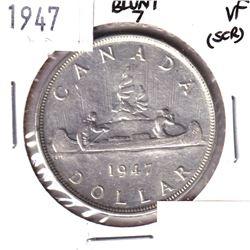 1947 Blunt 7 Silver Dollar VF( Scratched)
